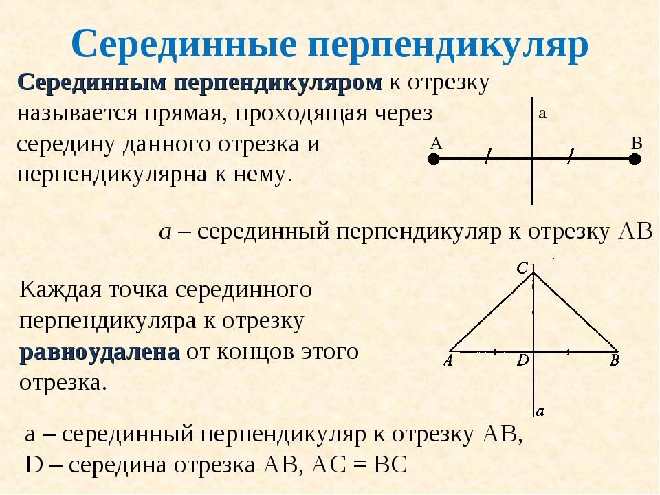 Серединные перпендикуляр Серединным перпендикуляром к отрезку называется прям...