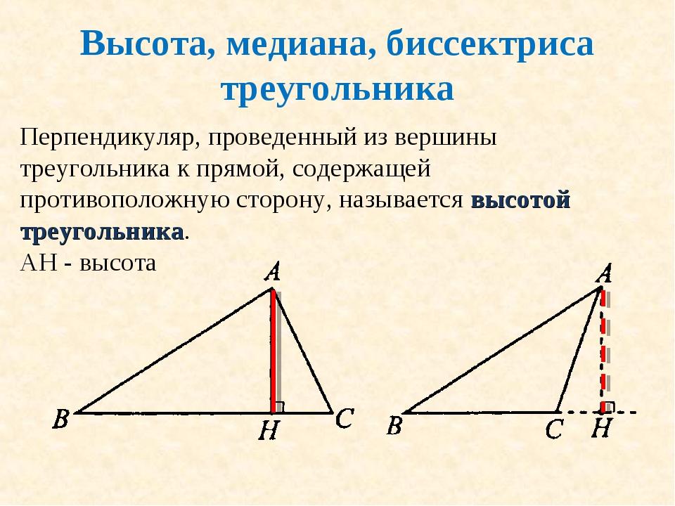 Высота, медиана, биссектриса треугольника Перпендикуляр, проведенный из верши...