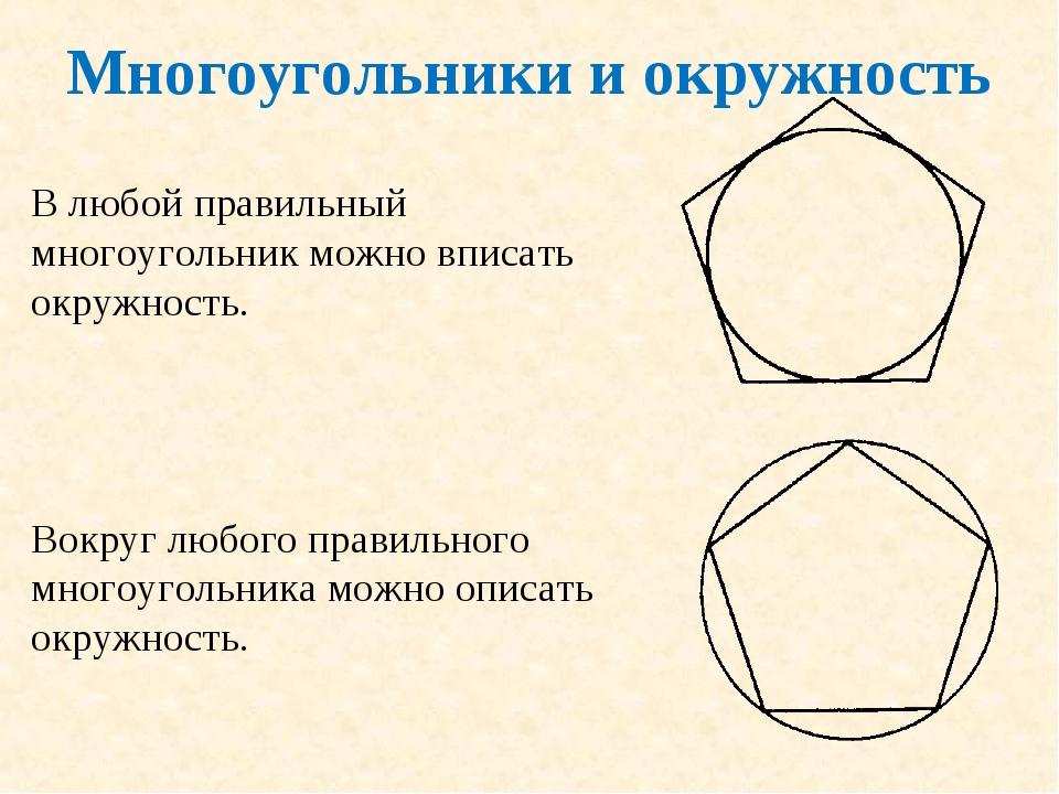 Многоугольники и окружность В любой правильный многоугольник можно вписать ок...