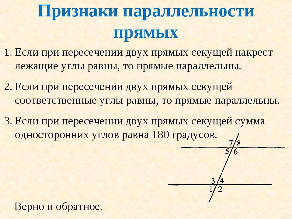 Признаки параллельности прямых Если при пересечении двух прямых секущей накре...