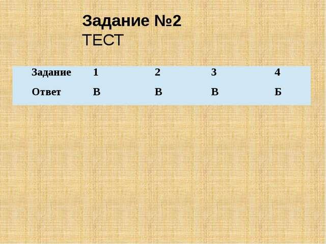 Задание №2 ТЕСТ Задание 1 2 3 4 Ответ В В В Б