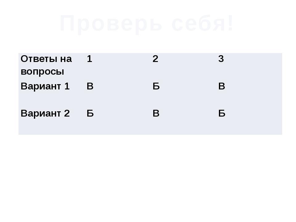 Проверь себя! Ответы на вопросы 1 2 3 Вариант 1 В Б В Вариант 2 Б В Б