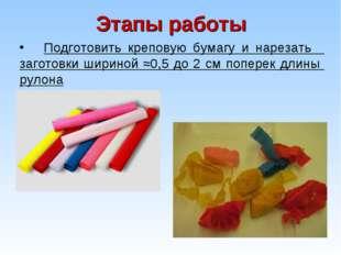 Этапы работы Подготовить креповую бумагу и нарезать заготовки шириной ≈0,5 до