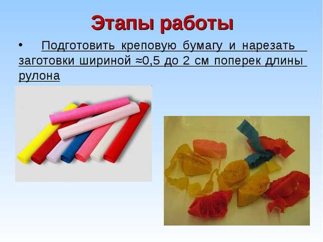 Этапы работы Подготовить креповую бумагу и нарезать заготовки шириной ≈0,5 до...