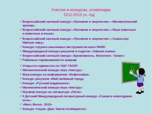 Участие в конкурсах, олимпиадах 2012-2013 уч. год Всероссийский заочный конк