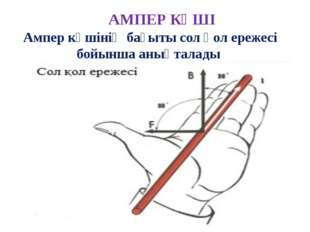 АМПЕР КҮШІ Ампер күшiнiң бағыты сол қол ережесi бойынша анықталады егер сол қ