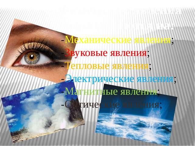 Физические явления подразделяются на: -Механические явления; -Звуковые явлени...