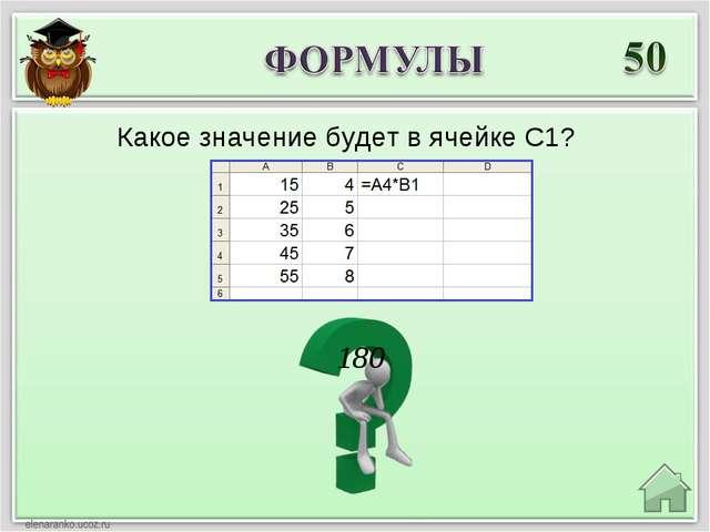 180 Какое значение будет в ячейке C1?