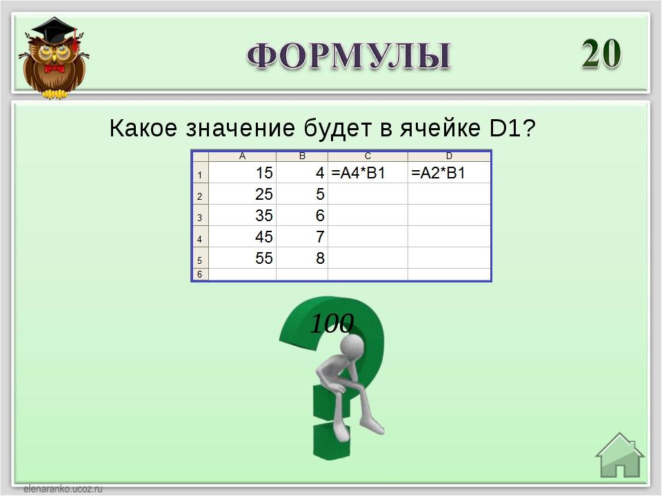 100 Какое значение будет в ячейке D1?
