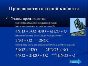 Производство азотной кислоты Этапы производства: подготовка аммиачно-воздушно