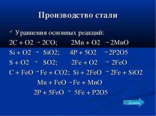 Производство стали Уравнения основных реакций: 2C + O2 2CO; 2Mn + O2 2MnO Si