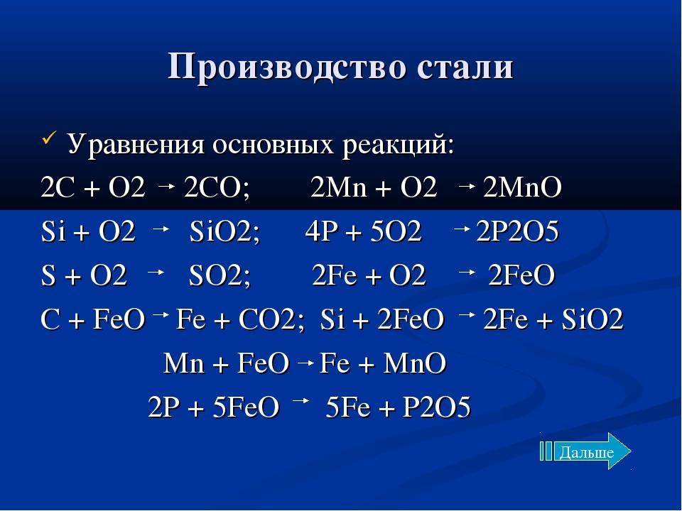 Производство стали Уравнения основных реакций: 2C + O2 2CO; 2Mn + O2 2MnO Si...