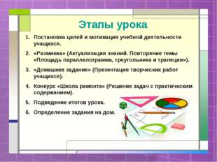 Этапы урока Постановка целей и мотивация учебной деятельности учащихся. «Разм