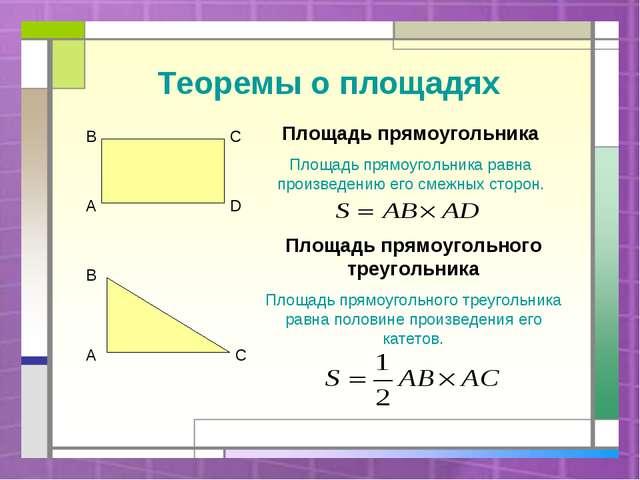 Теоремы о площадях Площадь прямоугольника Площадь прямоугольника равна произв...