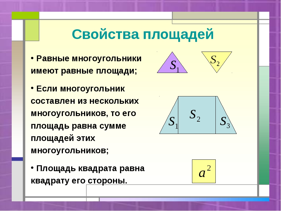 Свойства площадей Равные многоугольники имеют равные площади; Если многоуголь...
