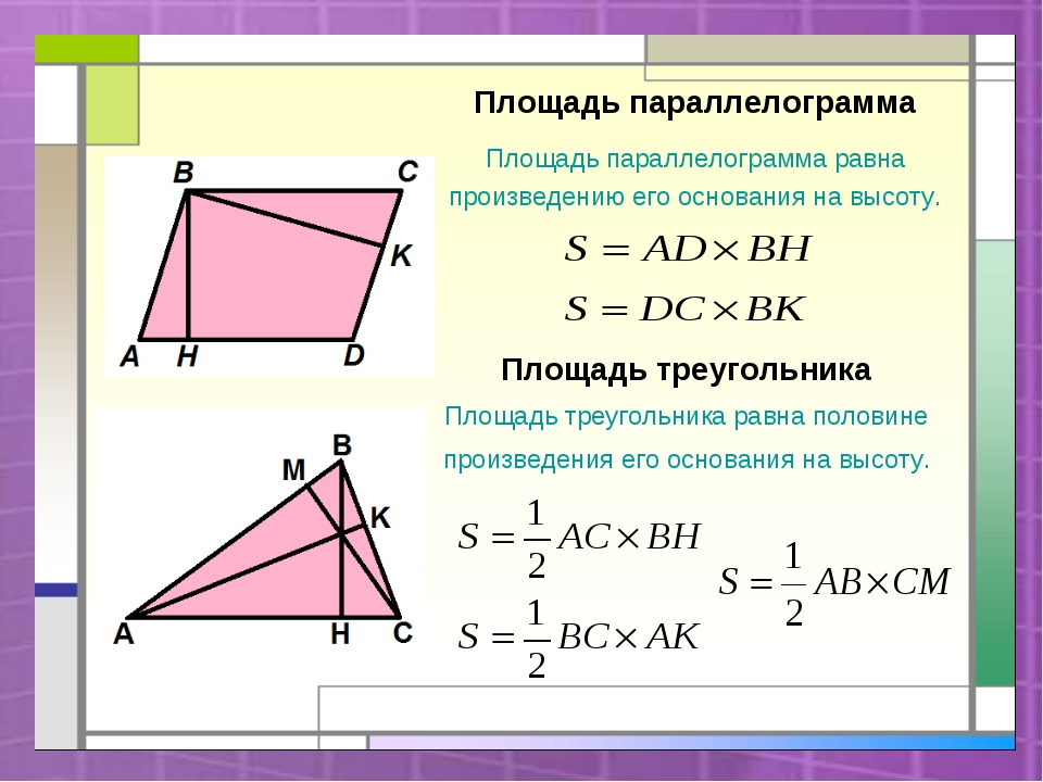 Площадь параллелограмма Площадь параллелограмма равна произведению его основа...