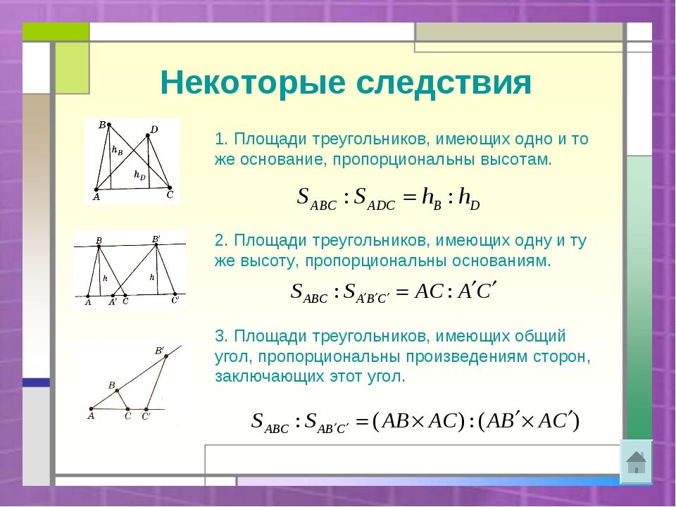 Некоторые следствия 1. Площади треугольников, имеющих одно и то же основание,...