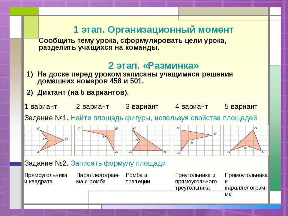 1 этап. Организационный момент Сообщить тему урока, сформулировать цели урока...