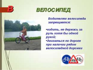 В ВЕЛОСИПЕД Водителям велосипеда запрещается: ездить, не держась за руль хотя