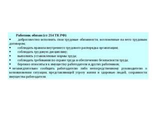Работник обязан:(ст 214 ТК РФ) · добросовестно исполнять свои трудовы