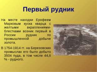Первый рудник На месте находки Ерофеем Марковым куска кварца с желтыми вкрапл
