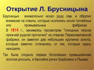 Открытие Л. Брусницына Брусницын внимательно искал руду сам, и обратил вниман