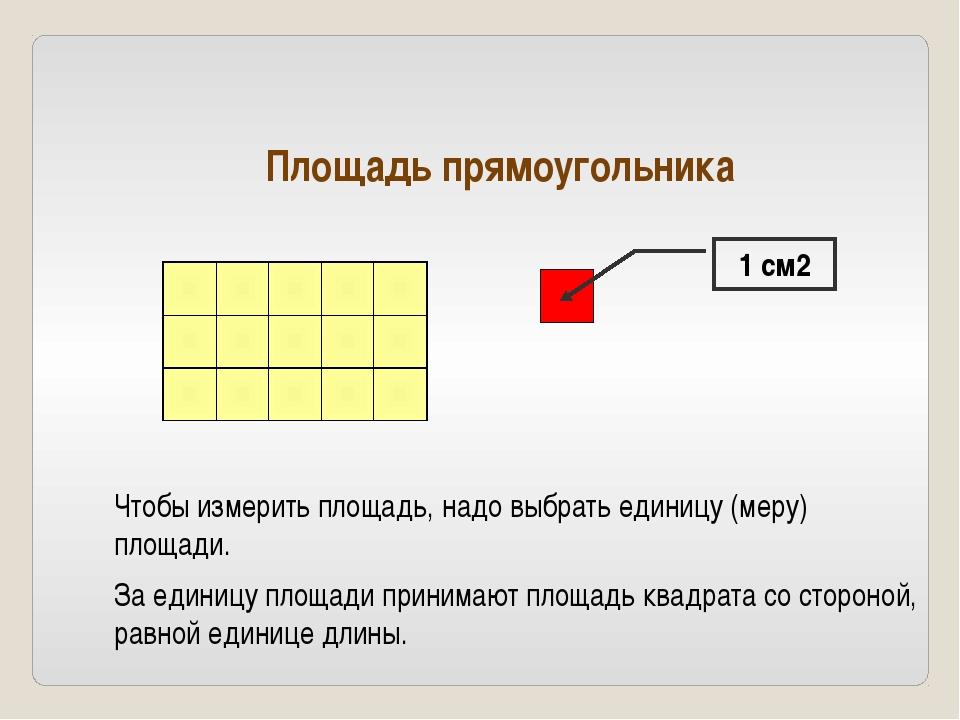 1 см2 Площадь прямоугольника Чтобы измерить площадь, надо выбрать единицу (м...