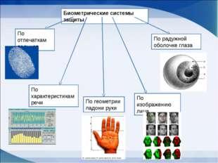 Биометрические системы защиты По отпечаткам пальцев По характеристикам речи П