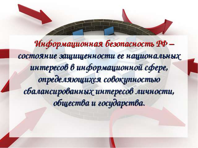 Информационная безопасность РФ – состояние защищенности ее национальных интер...