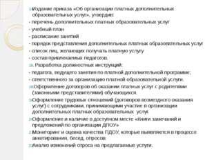 Издание приказа «Об организации платных дополнительных образовательных услуг»