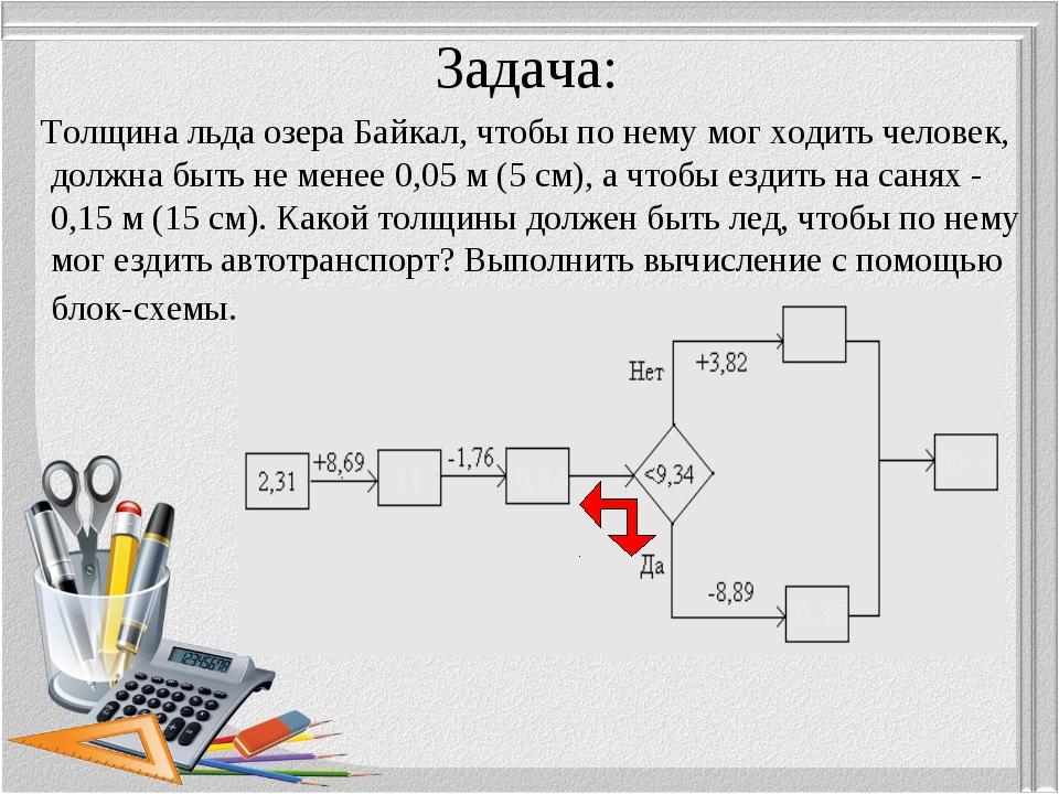 Задача: Толщина льда озера Байкал, чтобы по нему мог ходить человек, должна б...