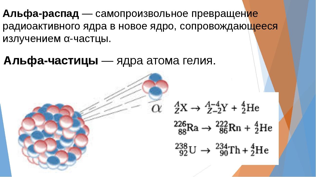 Альфа-распад― самопроизвольное превращение радиоактивного ядра в новое ядро...