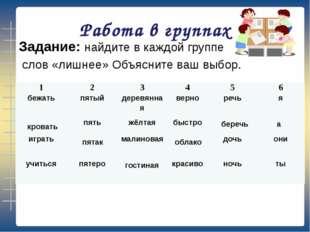 Работа в группах Задание: найдите в каждой группе слов «лишнее» Объясните ваш
