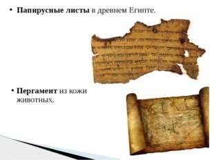 Папирусные листы в древнем Египте. Пергамент из кожи животных.