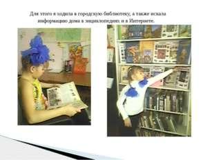 Для этого я ходила в городскую библиотеку, а также искала информацию дома в