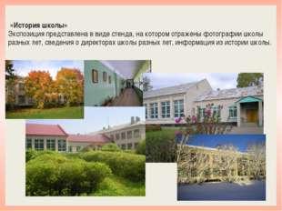 «История школы» Экспозиция представлена в виде стенда, на котором отражены ф
