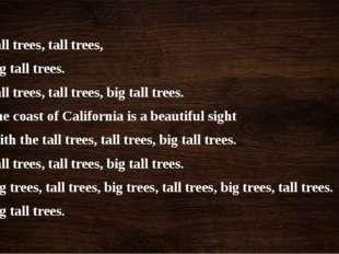 Tall trees, tall trees, Big tall trees. Tall trees, tall trees, big tall tree