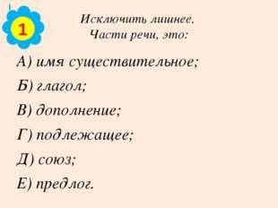 Исключить лишнее. Части речи, это: А) имя существительное; Б) глагол; В) допо