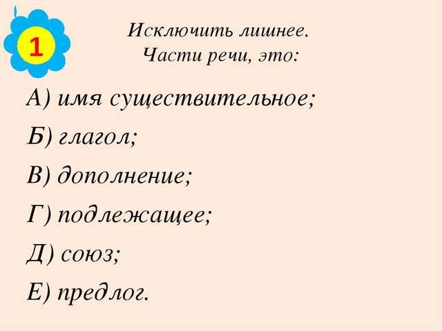 Исключить лишнее. Части речи, это: А) имя существительное; Б) глагол; В) допо...