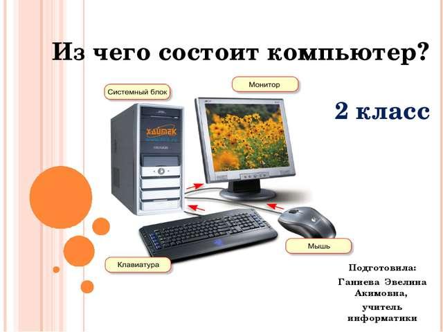 Из чего состоит компьютер? 2 класс Подготовила: Ганиева Эвелина Акимовна, учи...