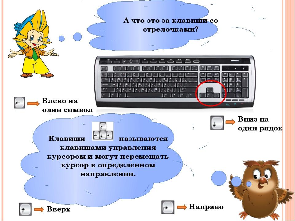 А что это за клавиши со стрелочками? Клавиши называются клавишами управления...