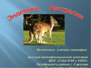Выполнила : учитель географии высшей квалификационной категории МОУ «СОШ №95