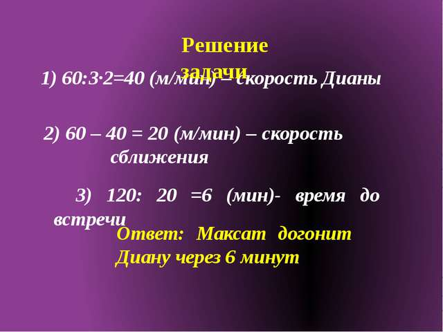 1) 60:3·2=40 (м/мин) – скорость Дианы Решение задачи 2) 60 – 40 = 20 (м/мин)...