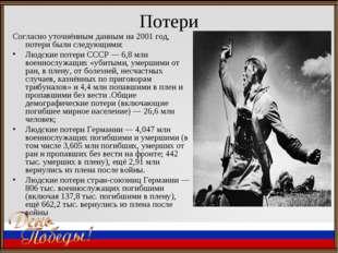 Потери Согласно уточнённым данным на 2001 год, потери были следующими: Людски