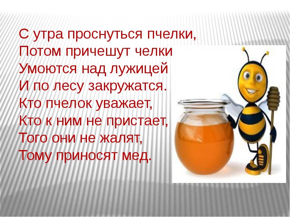 С утра проснуться пчелки, Потом причешут челки, Умоются над лужицей И по лесу...