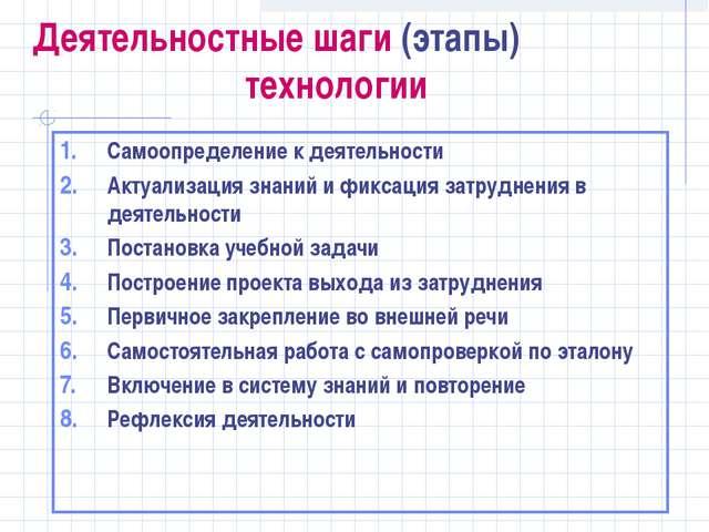 Деятельностные шаги (этапы) технологии Самоопределение к деятельности Актуа...