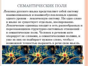 СЕМАНТИЧЕСКИЕ ПОЛЯ Лексика русского языка представляет собой систему взаимосв
