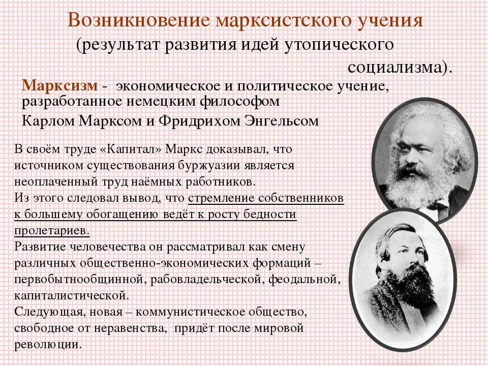 Возникновение марксистского учения (результат развития идей утопического соци...