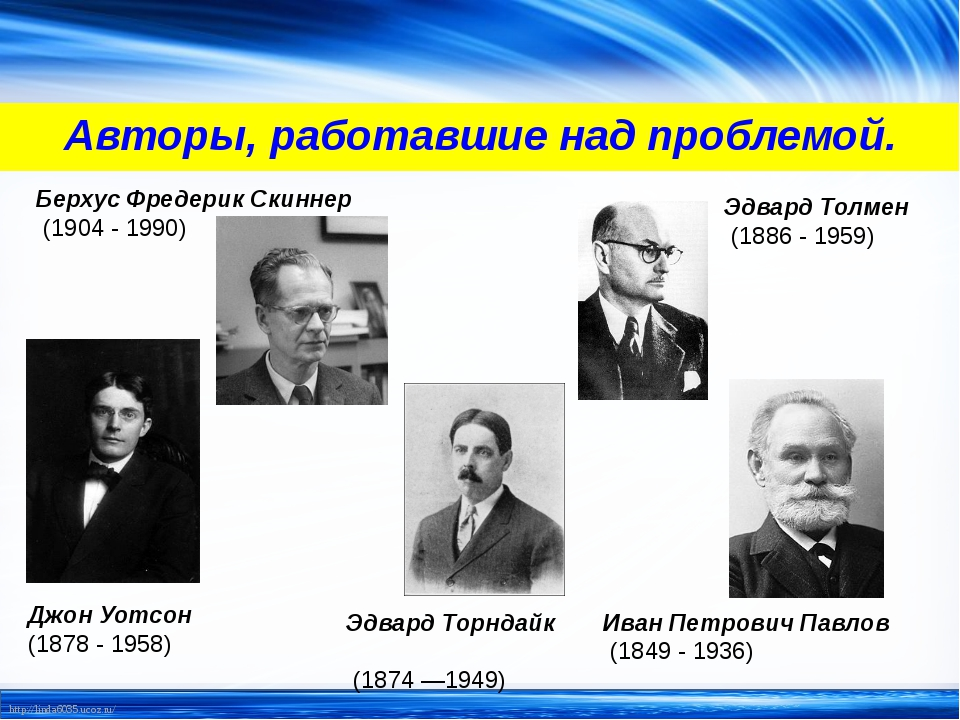 Авторы, работавшие над проблемой. Берхус Фредерик Скиннер (1904 - 1990) Эдвар...