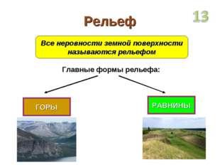 Рельеф Все неровности земной поверхности называются рельефом Главные формы ре